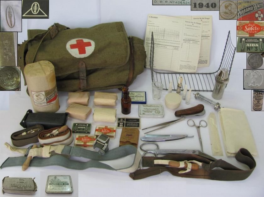 WWII ORIGINAL GERMAN ARMY MEDIC FIRST AID BAG w/EQUIPMENT